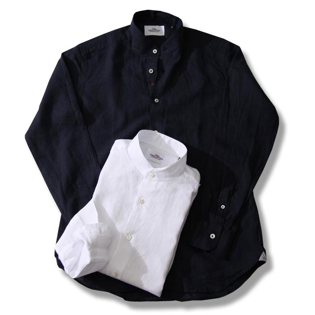 GALLIPOLI camiceria 日本製リネン100%無地七分袖プルオーバーシャツ ホワイト 551651-001