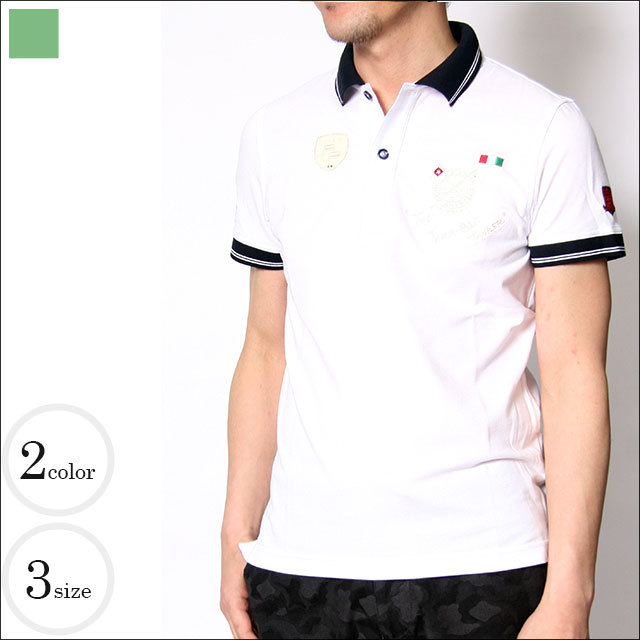 Credimi(クレディミ) メンズワッペン付半袖ポロシャツ【ホワイト・ネイビー】 551560