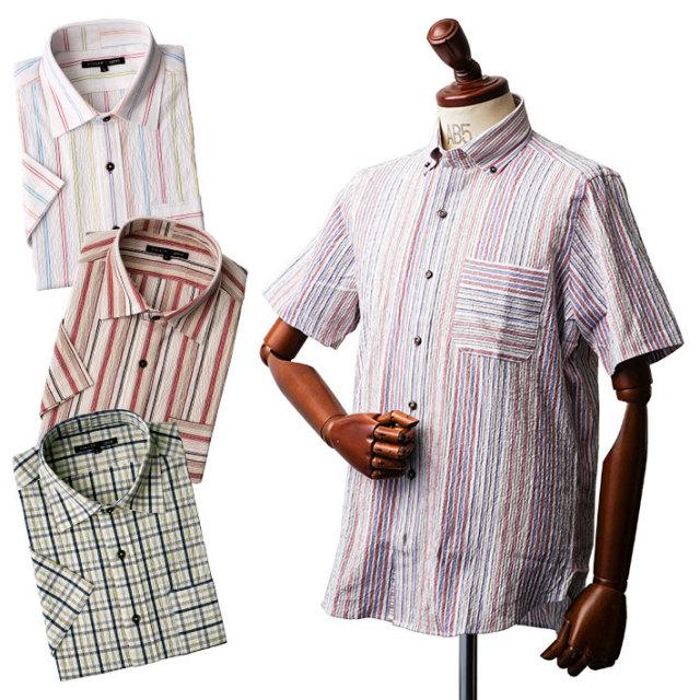 ワッシャー加工半袖シャツ シャツ メンズ 半袖 サッカー ストライプ チェック 551601A FIDATO(フィダート) 半袖シャツ