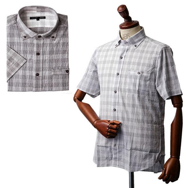 ワッシャー加工チェックボタンダウン半袖シャツ シャツ メンズ 半袖 サッカー ストライプ チェック 551601B FIDATO(フィダート) 半袖シャツ