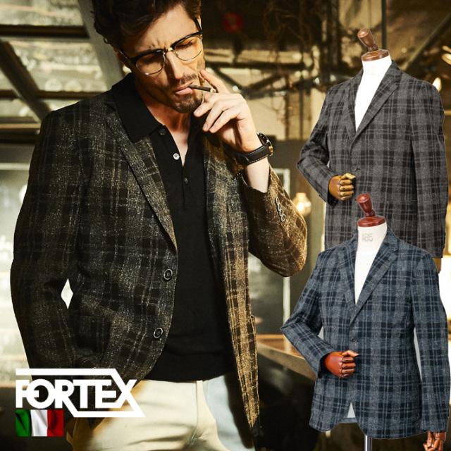 SALE イタリアFORTEX生地綿麻ネップチェックジャケット ブラウン ネイビー サマージャケット 580201 G-stage(ジーステージ)