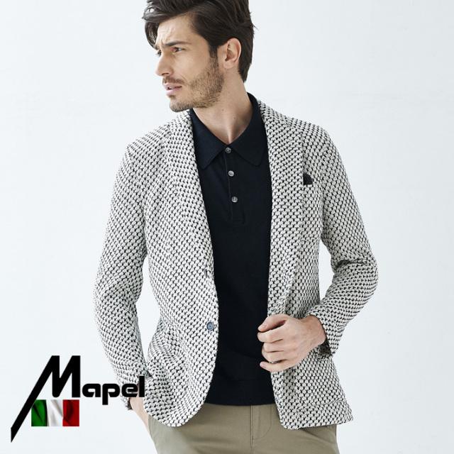 SALE イタリアMAPEL社製生地 織柄コットンサマーニットジャケット ネイビーホワイト 580203 G-stage(ジーステージ)
