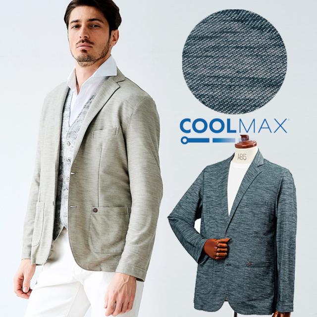 [SALE]COOLMAX スラブカットソージャケット カットソーシャツ クールマックス ベージュ ネイビー 580213 G-stage(ジーステージ)