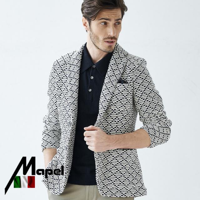 ネット通販限定品 イタリアMAPEL社製生地 織柄コットンサマーニットジャケット ネイビー 580215 G-stage(ジーステージ)