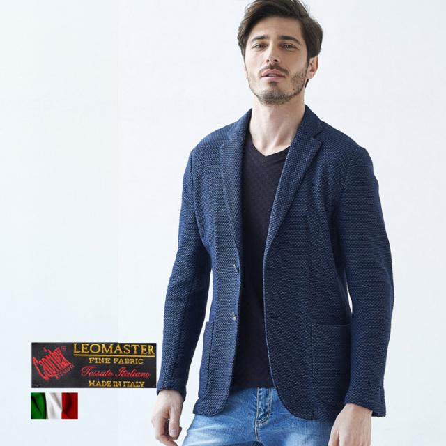 イタリアLEOMASTER社製生地 MIX織り綿麻サマーニットジャケット 自信が持てる仕事着 ネイビー 麻ジャケット 580218 G-stage(ジーステージ)