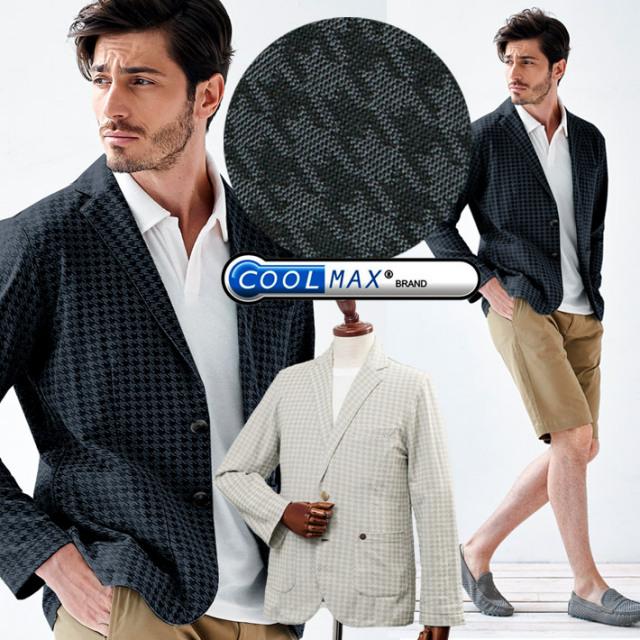 [TIME SALE]COOLMAX ジャージ素材 千鳥柄カットソージャケット カットソーシャツ クールマックス ベージュ ブラック 580220 G-stage(ジーステージ)