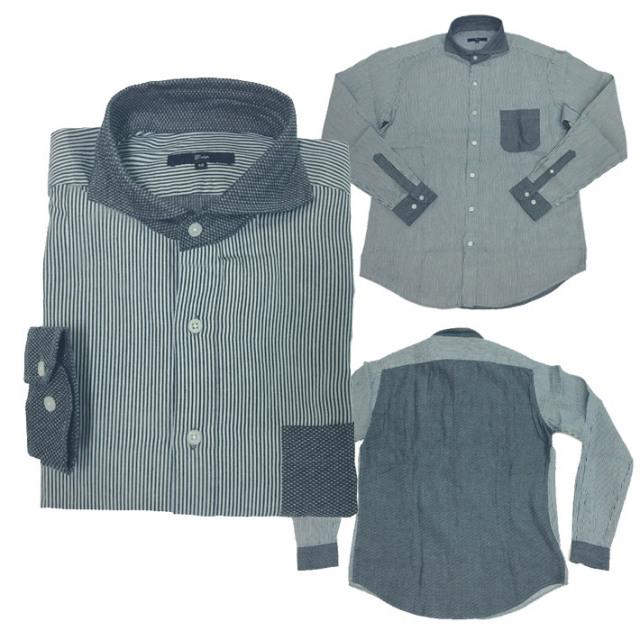 インディゴ ヒッコリー クレイジーパターン シャツ ネイビー ホリゾンタルカラー ワイドカラー 580606 G-stage(ジーステージ)