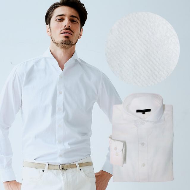 ホワイト デニムシャツ ホワイト 白 ホリゾンタルカラー ワイドカラー 580607 G-stage(ジーステージ)
