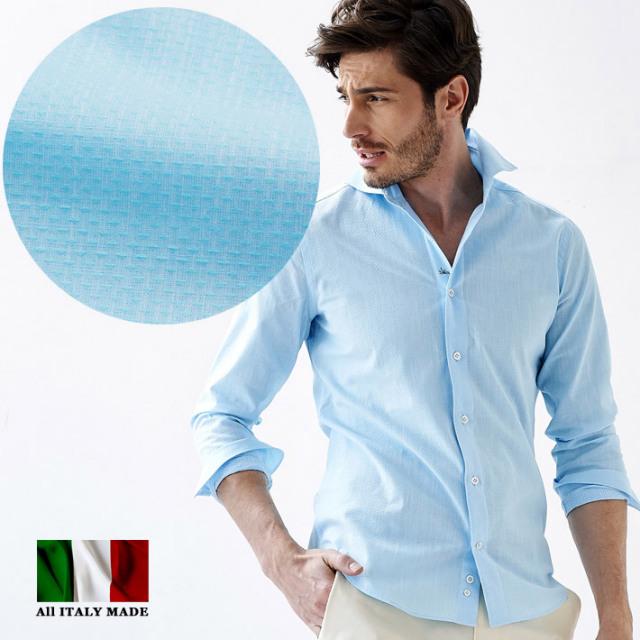 イタリア製 ジャガード織り小紋柄長袖シャツ イタリア製シャツ  ブルー セミワイド カッタウエイ カジュアルシャツ メンズ コットン イタリアシャツ 580651-503 GALLIPOLI camiceria(ガリポリカミチェリア)