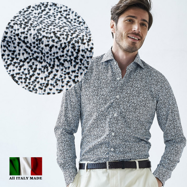 イタリア製 長袖シャツ セミワイド イタリア製シャツ カッタウエイ カジュアルシャツ メンズ コットン イタリアシャツ 580651-504 GALLIPOLI camiceria(ガリポリカミチェリア)