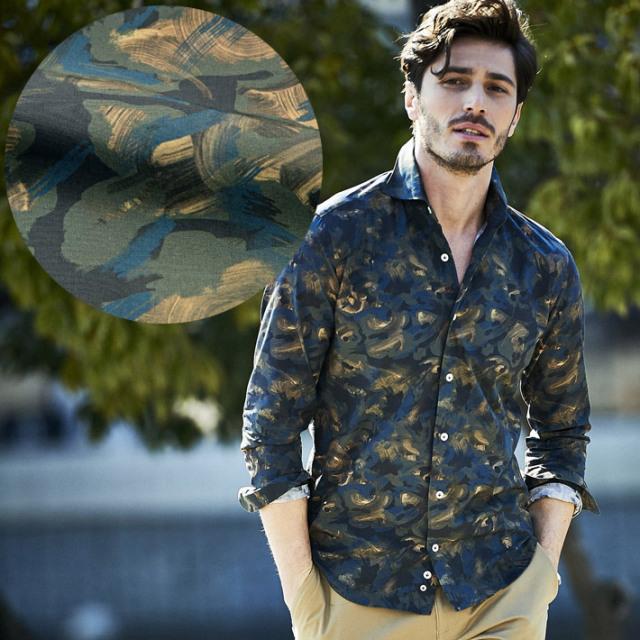 イタリア製 手染め風長袖シャツ イタリア製シャツ セミワイド カッタウエイ カジュアルシャツ  580651-507 GALLIPOLI camiceria(ガリポリカミチェリア)