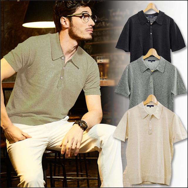 SALE メンズ 半袖ポロ 綿麻 ニット ポロシャツ ベージュ グレー ネイビー 580702 G-stage(ジーステージ)