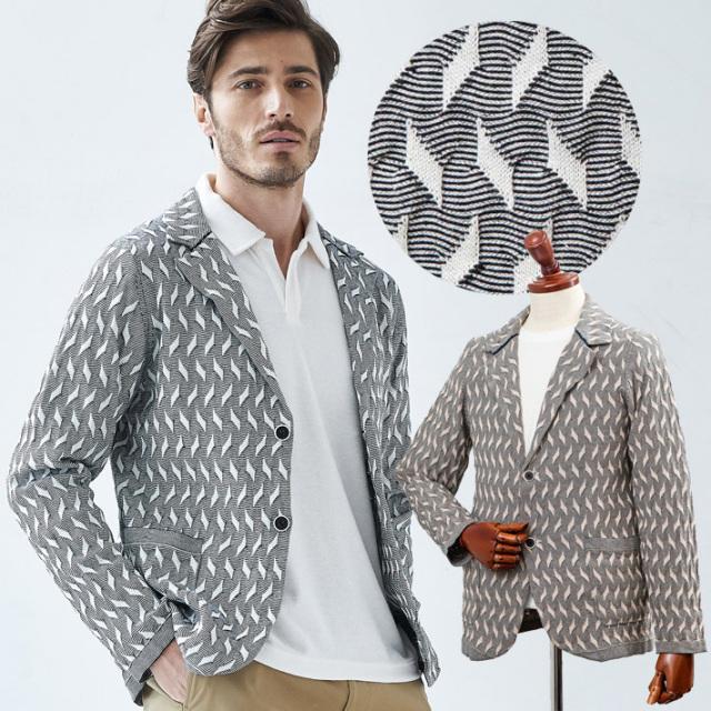 [SALE]綿麻ジオメトリック編み柄サマーニットジャケット ベージュ ホワイト ニットカーデ 580711 G-stage(ジーステージ)