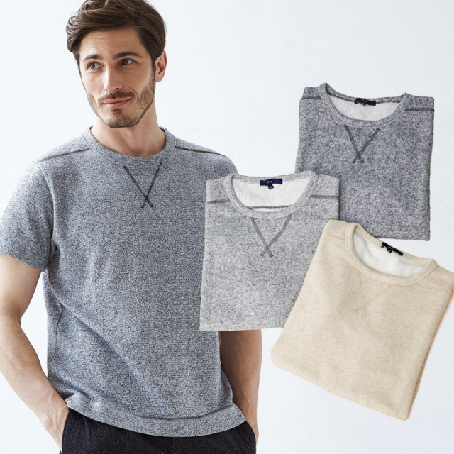 メンズ Tシャツ メランジトレーナー地半袖カットソーシャツ グレー ネイビー ベージュ 581501 G-stage(ジーステージ)