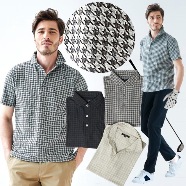 メンズ ポロシャツ 千鳥柄ジャガード織り 半袖 ポロ グレー ベージュ ブラック 581502 G-stage(ジーステージ)