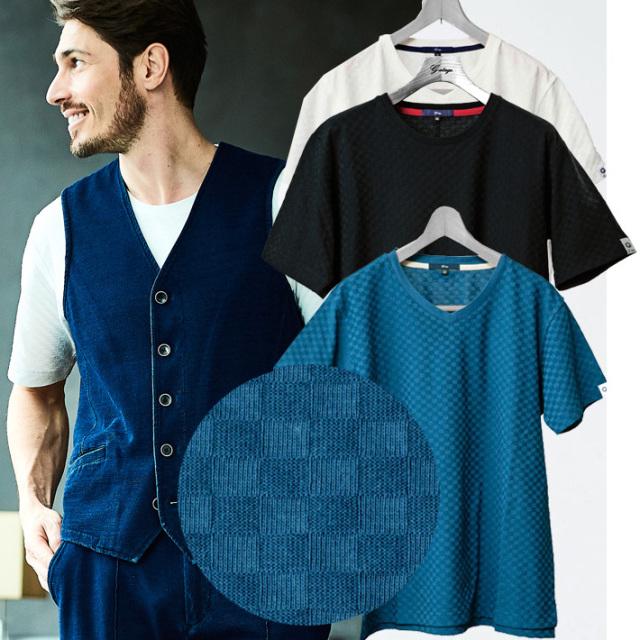 チェッカードジャガード織りTシャツ 半袖 チェッカード柄 Uネック Vネック ネイビー ブルー ホワイト 581503 G-stage(ジーステージ)