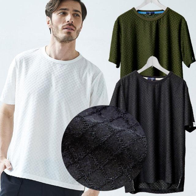 ジャガード織り 半袖Tシャツ ホワイト ブラック カーキ デザインTシャツ Uネック 無地 581506 G-stage(ジーステージ)