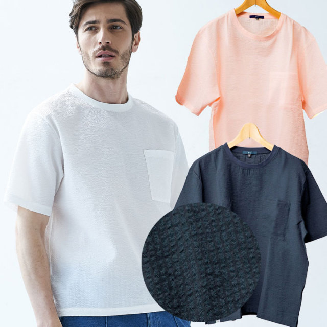 [SALE]シアサッカーTシャツ ネイビー ホワイト ピンク 半袖 無地 Uネック 581507 G-stage(ジーステージ)
