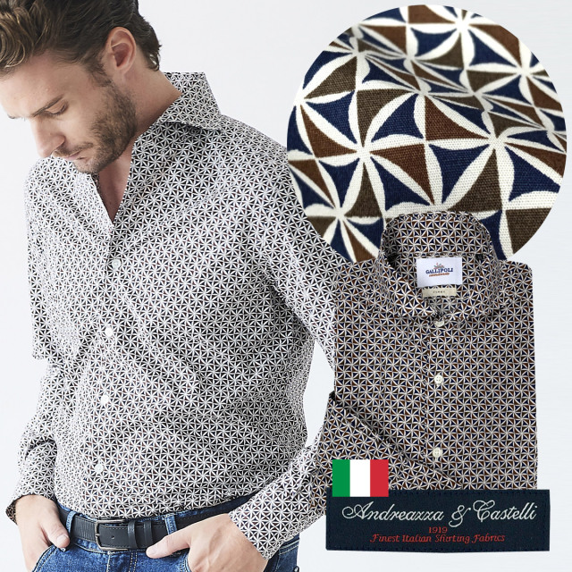 日本製 イタリア生地 メンズシャツ ジオメトリックプリント カッタウェイ 600665-007 GALLIPOLI camiceria ガリポリカミチェリア