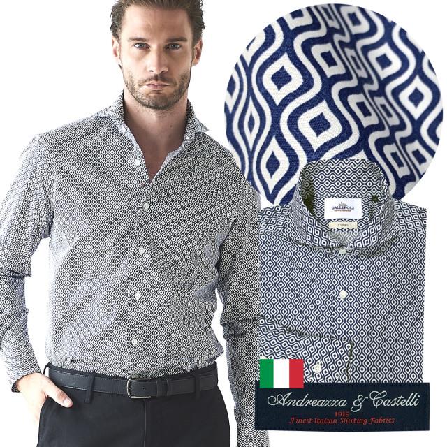 SALE 日本製 イタリア生地 メンズシャツ ジオメトリックプリント カッタウェイ 600665-008 GALLIPOLI camiceria ガリポリカミチェリア