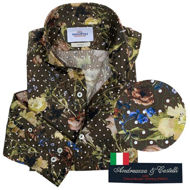 SALE 日本製 イタリア生地 メンズシャツ フラワージオメトリックプリント カッタウェイ 600667 GALLIPOLI camiceria(ガリポリカミチェリア)