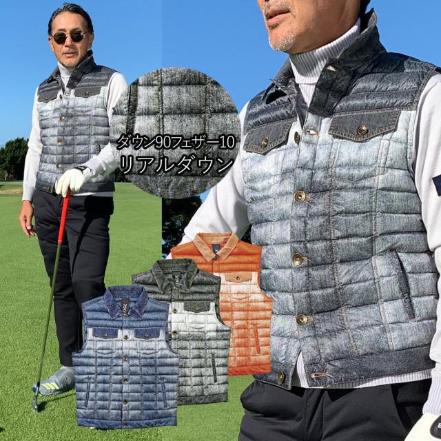 Safari掲載商品 デニム ダウンベスト ゴルフウエア コンビデザイン グラデーション  インナーダウン 601302 G-stage ジーステージ ゴルフスタイル