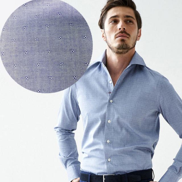SALE イタリア製 長袖カジュアルシャツ イタリア製シャツ  綿シャツ ジャガード織りピンドットシャツ ネイビー セミワイド カッタウエイ イタリアシャツ 670651-304 GALLIPOLI camiceria(ガリポリカミチェリア)