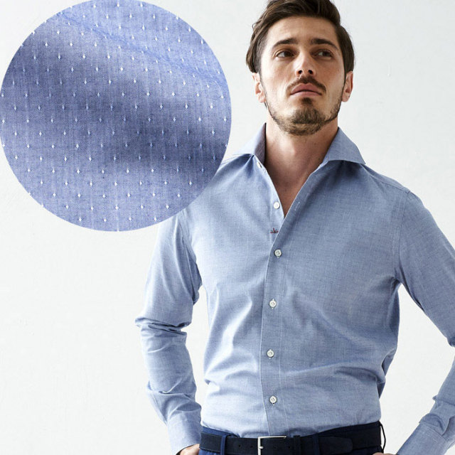 イタリア製 長袖カジュアルシャツ イタリア製シャツ  綿シャツ ジャガード織りピンドットシャツ ネイビー セミワイド カッタウエイ イタリアシャツ 670651-304 GALLIPOLI camiceria(ガリポリカミチェリア)