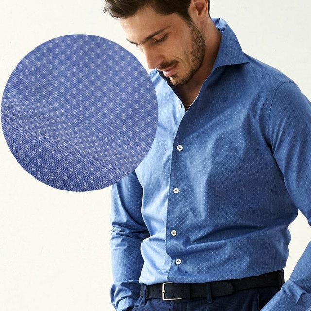 イタリア製 長袖カジュアルシャツ イタリア製シャツ 綿シャツ ジャガード織りシャツ ネイビー セミワイド カッタウエイ イタリアシャツ 670651-306 GALLIPOLI camiceria(ガリポリカミチェリア)
