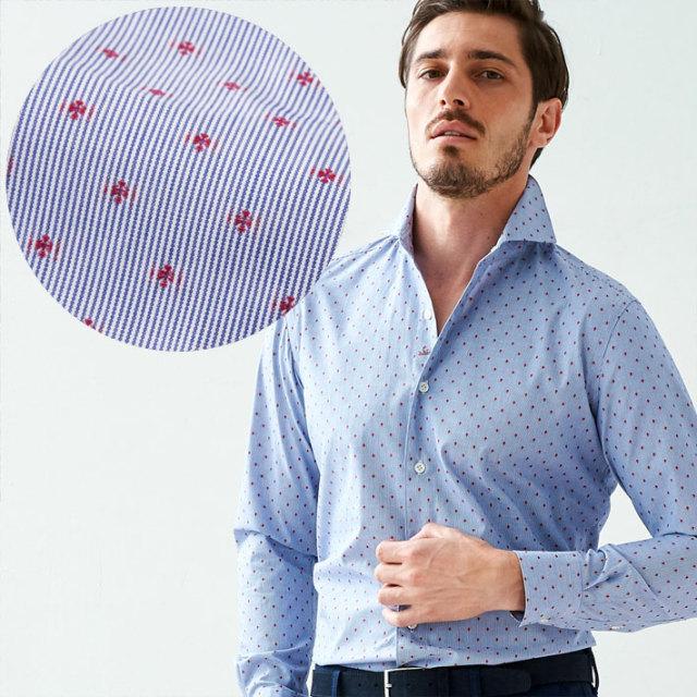 イタリア製 長袖カジュアルシャツ 綿シャツ ジャガード織りピンストライプシャツ ブルー セミワイド カッタウエイ イタリアシャツ 670651-310 GALLIPOLI camiceria(ガリポリカミチェリア)