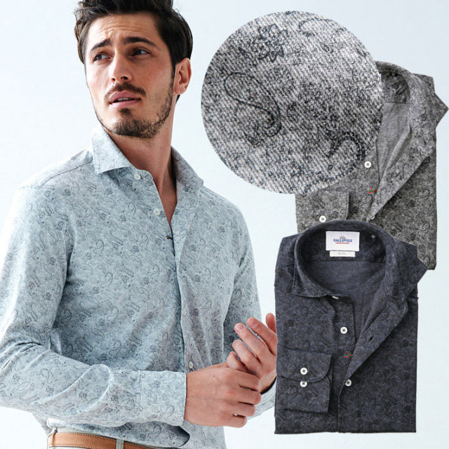 日本製 ペイズリープリントジャージシャツ 長袖カジュアルシャツ セミワイド  670659 GALLIPOLI camiceria(ガリポリカミチェリア)
