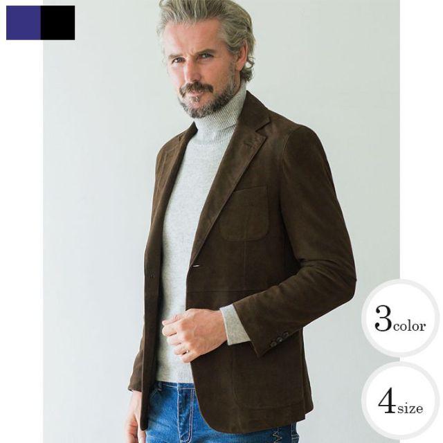 [ネット通販価格]羊革ヌバックノッチドラペル2ツボタンレザージャケット レザー メンズ ブラック ブラウン L41251 G-stage(ジーステージ)[メンズスタイルはレザーが似合う]