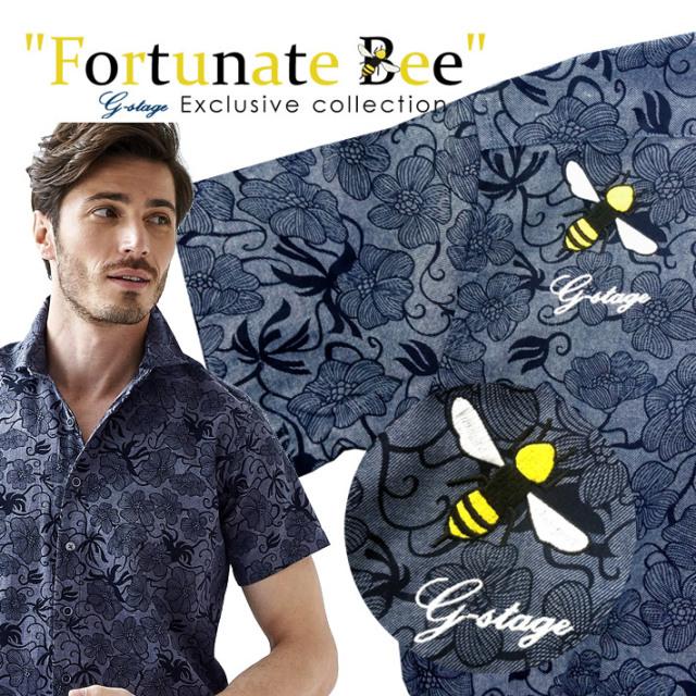 数量限定 蜂刺繍 半袖シャツ ボタニカル柄 セミワイド ネイビー l51604 G-stage ジーステージ