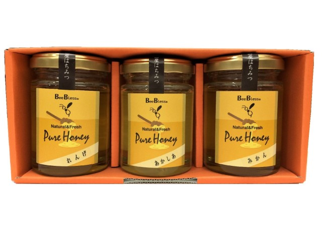 国産蜂蜜 ギフトセットA1 (あかしあ・れんげ・みかん)120g×3
