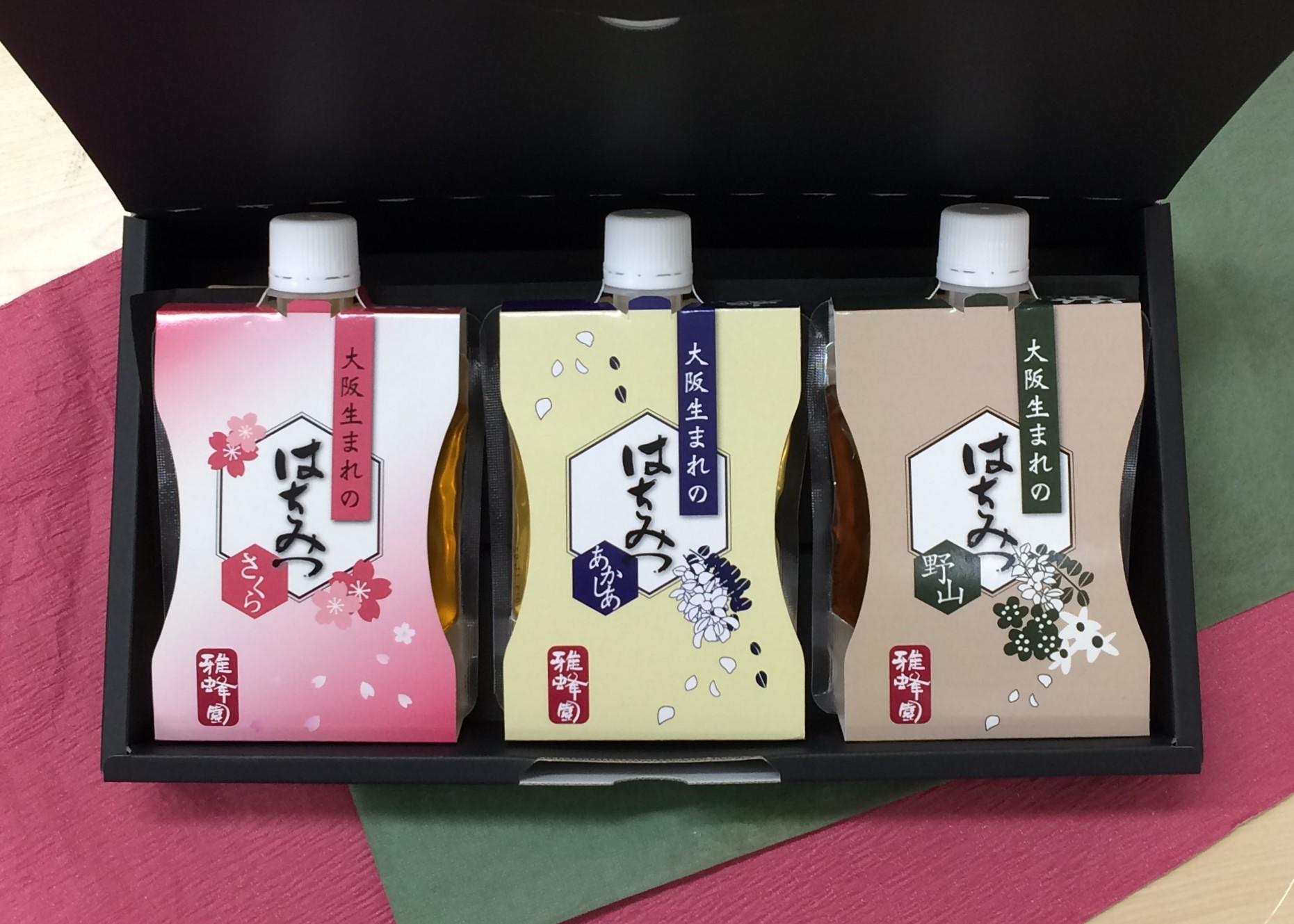 【国産蜂蜜】 大阪産はちみつ(あかしあ、野山、桜)200g 3本セット 【数量限定】