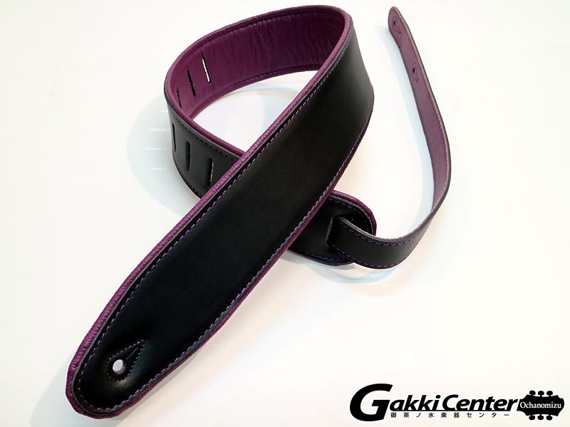 RENEGADE ギター/ベース用 ストラップ Super Deluxe Rolled Edge Leather, Neoprene Insert. Black / Purple