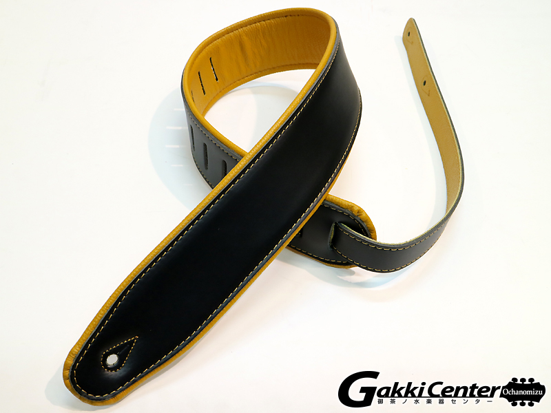 RENEGADE ギター/ベース用 ストラップ Super Deluxe Rolled Edge Leather, Neoprene Insert. Black / Yellow