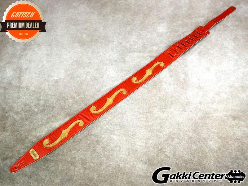 Gretsch Orange/Tan Leather F Hole Strap