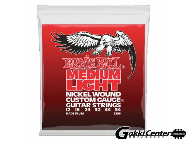 Ernie Ball Medium Light Nickel Wound W/ Wound G Electoric Guitar 12-54 [#2206]