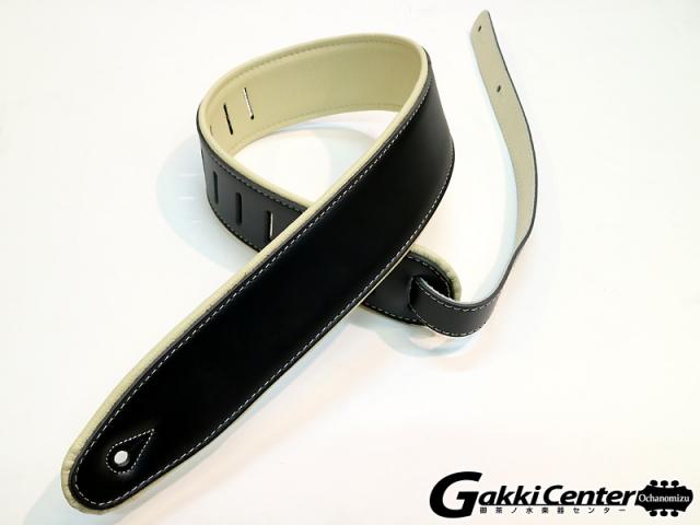 RENEGADE ギター/ベース用 ストラップ Super Deluxe Rolled Edge Leather, Neoprene Insert. Black / Beige