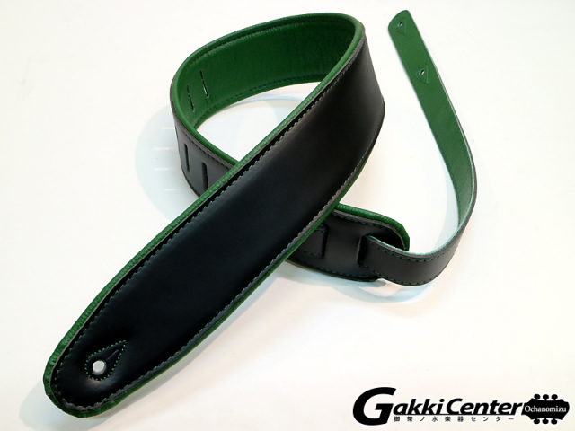 RENEGADE ギターストラップ Super Deluxe Rolled Edge Leather, Neoprene Insert. Black / Green