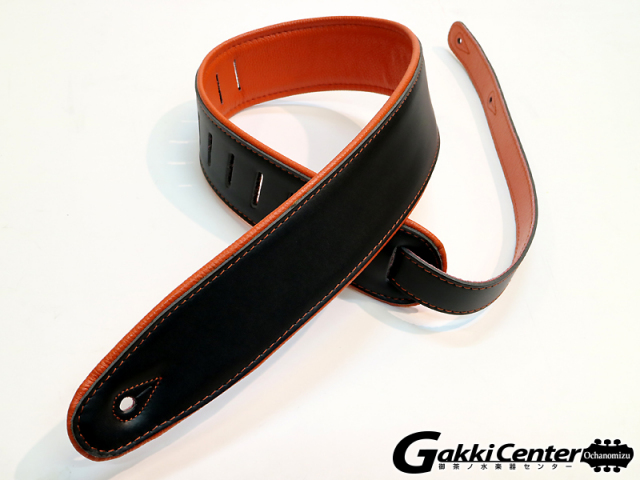 RENEGADE ギターストラップ Super Deluxe Rolled Edge Leather, Neoprene Insert. Black / Orange