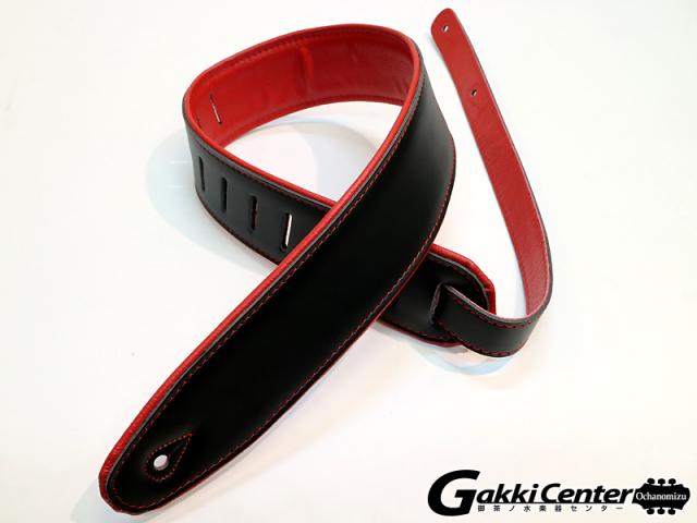 RENEGADE ギター/ベース用 ストラップ Super Deluxe Rolled Edge Leather, Neoprene Insert. Black / Red