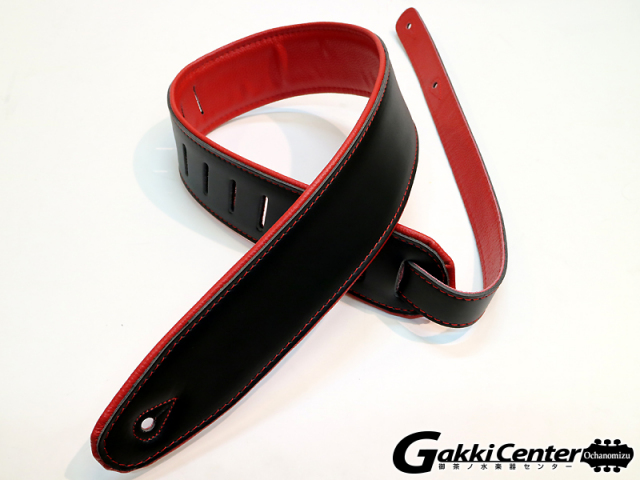 RENEGADE ギターストラップ Super Deluxe Rolled Edge Leather, Neoprene Insert. Black / Red