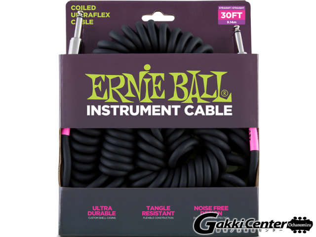 【SALE】ERNiE BALL 30' COILED STRAIGHT/STRAIGHT INSTRUMENT CABLE - BLACK #6044