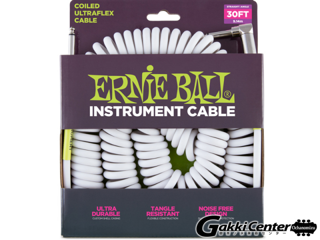 【SALE】ERNiE BALL 30' COILED STRAIGHT/ANGLE INSTRUMENT CABLE - WHITE #6045