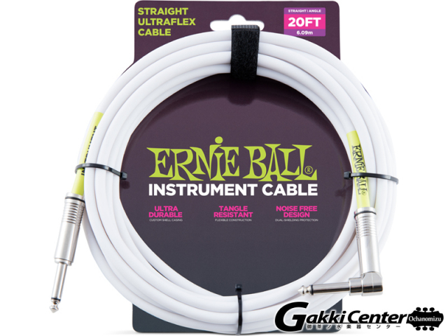 【SALE】ERNiE BALL 20' STRAIGHT/ANGLE INSTRUMENT CABLE - WHITE #6047