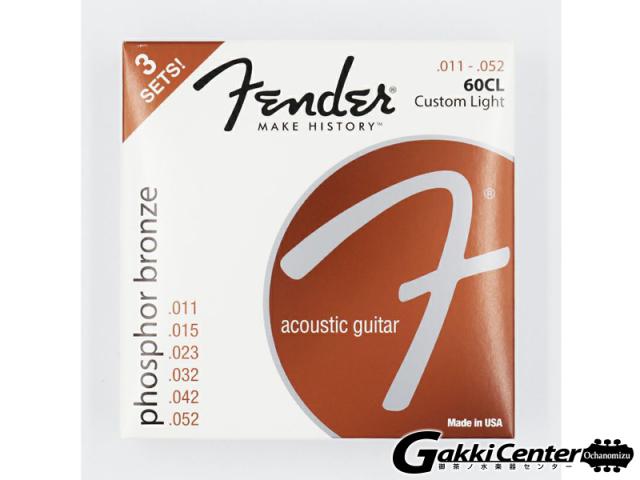 [Outlet] Fender 3-Pack Phosphor Bronze Acoustic Guitar Strings, 60CL (.011-.052)