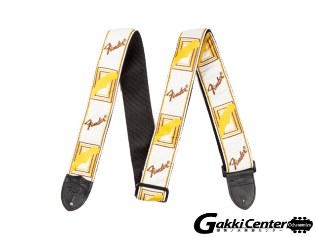 "Fender 2"" Monogrammed Straps White/Brown/Yellow"
