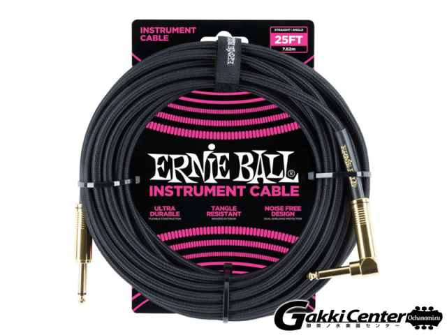 ERNiE BALL 25' Braided Straight / Angle Instrument Cables #6058 Black